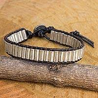 Silver and leather beaded cord bracelet, 'Karen Shimmer' - Silver and Leather Beaded Cord Bracelet from Thailand