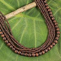 Wood beaded necklace, 'Dark Chocolate Dance'