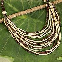 Wood beaded necklace, 'Earth Exotic' - Boxwood Eco Friendly Handcrafted Necklace from Thailand