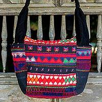 Cotton shoulder bag, 'The Carnival' - Hand Crafted 100% Cotton Colorful Shoulder Bag from Thailand