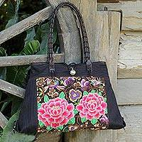 Cotton shoulder bag, 'Pink Peony' - Artisan Crafted Embroidered Floral Shoulder Bag