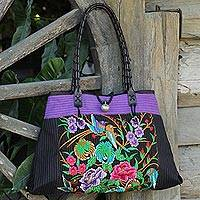 Cotton shoulder bag, 'Mandarin Season in Purple' - Artisan Crafted Cotton Shoulder Bag with Embroidery