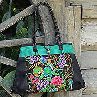 Cotton shoulder bag, 'Mandarin Season in Turquoise' - Thai Artisan Crafted Embroidered Cotton Shoulder Bag