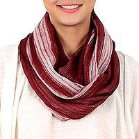Cotton infinity scarf, 'Burgundy Horizon'