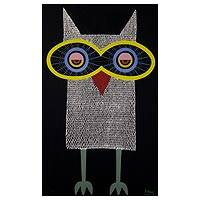 'Fantasy Owl I' - Signed Acrylic Painting of Owl on Canvas from Thailand