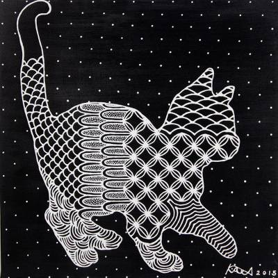 Black and White Original Acrylic Painting of Cat on Canvas