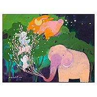 'Green Forest' - Magical Painting of a Thai Elephant in Naif Style