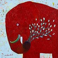 'Blue Blooming' - Original Signed Thai Red Elephant Painting