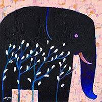'White Blooming' - Original Signed Thai Blue Elephant Painting
