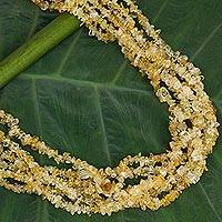 Citrine multi-strand necklace, 'Citrus Burst' - Citrine and Sterling Silver Multi-Strand Necklace