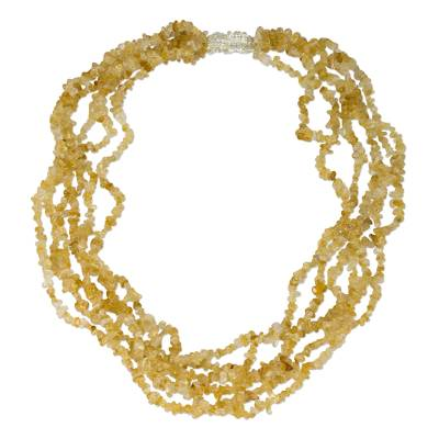 Citrine multi-strand necklace, 'Citrus Burst' - Citrine and Sterling Silver Multi-Strand Necklace