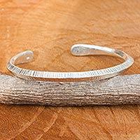 Sterling silver cuff bracelet, 'Modern Karen Style' - Karen Hill Tribe Modern Sterling Cuff Bracelet