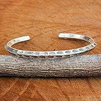 Sterling silver cuff bracelet, 'Turning Fish' - 925 Sterling Silver Cuff Bracelet Hand Made in Thailand