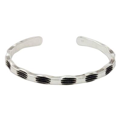 Hand Stamped Bamboo Motif Sterling Silver Cuff Bracelet