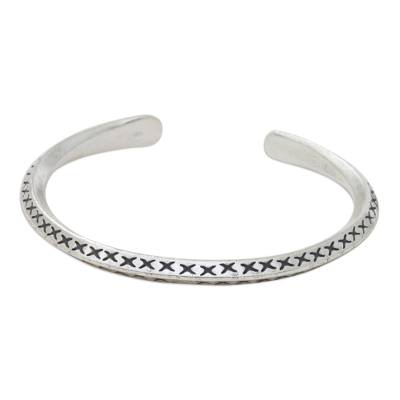 Incised Sterling Silver Handcrafted Cuff Bracelet