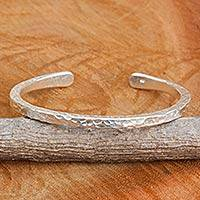 Sterling silver cuff bracelet, 'Karen Fascination' - Karen Hill Tribe Hammered Sterling Silver Cuff Bracelet