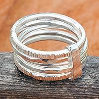 Sterling silver band ring, 'Karen Quintet'