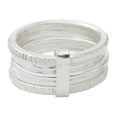 Sterling silver band ring, 'Karen Quintet' - Five Linked Hand Crafted Hill Tribe Silver Band Rings