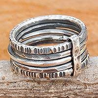 Sterling silver band ring, 'Dark Karen Quintet' - Hand Crafted Hill Tribe Dark Silver Five Linked Band Rings
