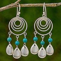 Sterling silver chandelier earrings, 'Sea Drops' - Sterling Silver and Calcite Chandelier Earrings Thailand