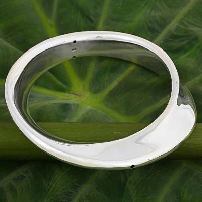 Sterling silver bangle bracelet, 'Bubble Breeze' - Sterling Silver Abstract Bangle Bracelet from Thailand