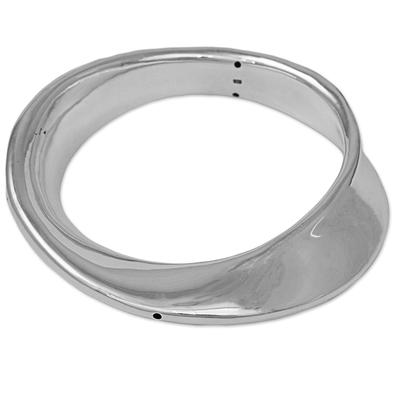 Sterling silver bangle bracelet, 'Bubble Breeze' - Sterling Silver Abstract Bangle Bracelet from Thailand