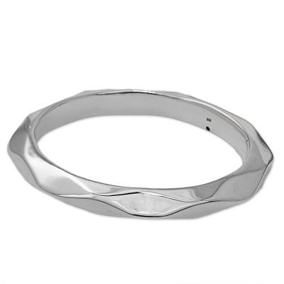 Sterling silver bangle bracelet, 'Sleek Beauty' - Sterling Silver Hexagonal Bangle Bracelet from Thailand