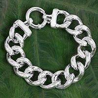 Sterling silver chain bracelet, 'Dazzling Links' - Sterling Silver Large Link Chain Bracelet from Thailand