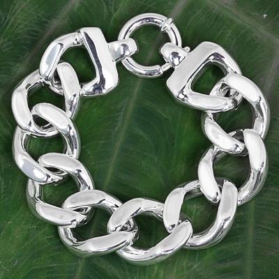 Sterling silver chain bracelet, 'Shining Links' - Sterling Silver Cuban Link Chain Bracelet from Thailand
