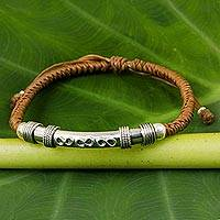 Sterling silver pendant bracelet, 'Infinite Legend in Caramel' - Sterling Silver Accent Bracelet from Thailand