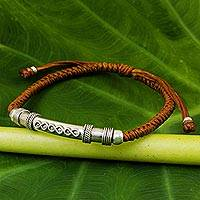 Sterling silver pendant bracelet, 'Infinite Legend in Rust' - Sterling Silver Accent Bracelet from Thailand