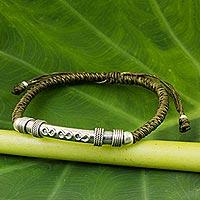 Sterling silver pendant bracelet, 'Infinite Legend in Olive' - Sterling Silver Accent Bracelet from Thailand