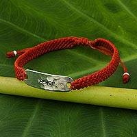 Sterling silver accent wristband bracelet, 'Peace in Scarlet' - Sterling Silver Wristband Braided Bracelet from Thailand
