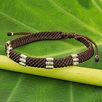 Silver accent wristband bracelet, 'Karen Bamboo in Coffee' - Silver Accent Wristband Bracelet from Thailand