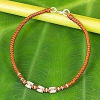 Silver accent wristband bracelet, 'Bamboo Bracelet in Rust' - Sterling Silver Accent Wristband Bracelet from Thailand