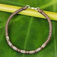 Silver accent wristband bracelet, 'Happy Flower in Taupe' - 950 Silver Accent Wristband Bracelet from Thailand