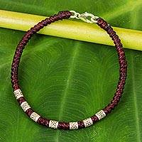 Silver accent wristband bracelet, 'Happy Flower in Maroon' - 950 Silver Accent Wristband Bracelet from Thailand