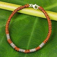 Silver accent wristband bracelet, 'Beautiful Jungle in Rust' - Handmade Wristband Braided Bracelet from Thai Artisan