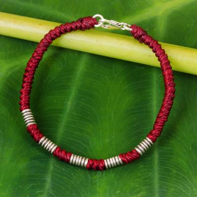 Silver accent wristband bracelet, 'Beautiful Jungle in Crimson' - Red Cord Wristband Braided Bracelet with Silver Beads