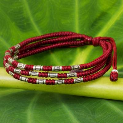 Silver accent wristband bracelet, 'Forest Thicket in Red' - 950 Silver Accent Wristband Braided Bracelet from Thailand