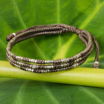 Silver accent wristband bracelet, 'Forest Thicket in Taupe' - 950 Silver Accent Wristband Braided Bracelet from Thailand