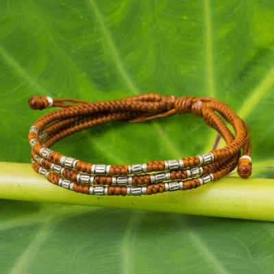 Silver accent wristband bracelet, 'Forest Thicket in Rust' - 950 Silver Accent Wristband Braided Bracelet from Thailand