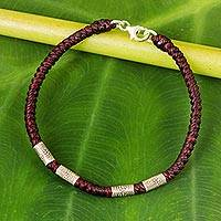 Silver accent wristband bracelet, 'Simply Happy in Maroon' - 950 Silver Accent Wristband Braided Bracelet from Thailand