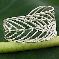 Sterling silver cuff bracelet, 'Rainforest Leaf' - Thai 925 Sterling Silver Cuff Bracelet in Leaf Motif