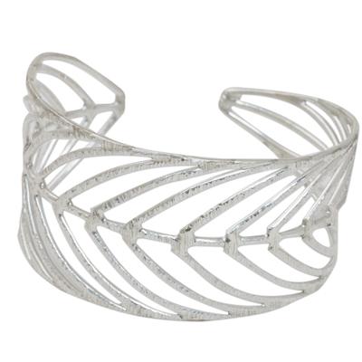 Sterling silver cuff bracelet, 'Rainforest Leaf' - Thai 925 Sterling Silver Cuff Bracelet in Leaf Motif