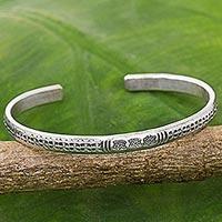 Sterling silver cuff bracelet, 'Sterling Lotus'