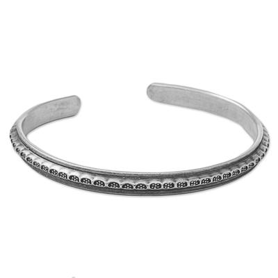 Hand Made Sterling Silver Cuff Bracelet Dot Motif Thailand