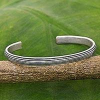 Sterling silver cuff bracelet, 'Sterling Stripes' - Hand Made Sterling Silver Cuff Bracelet Striped Thailand