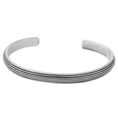 Hand Made Sterling Silver Cuff Bracelet Striped Thailand