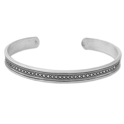 Hand Made Sterling Silver Cuff Bracelet Cross Motif Thailand